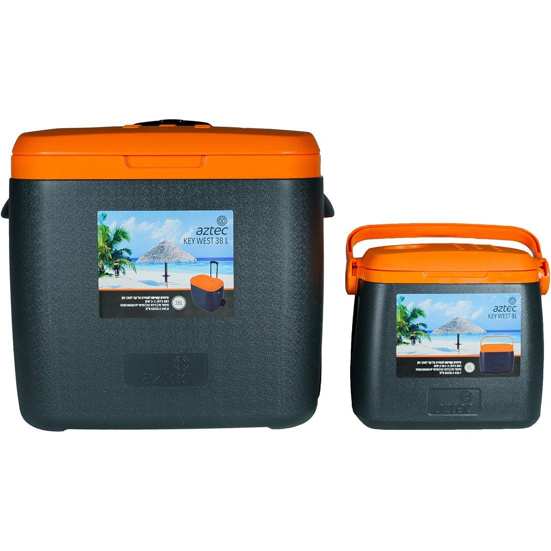 סט צידניות קשיחות - Key West Set Grey/orange - Aztec
